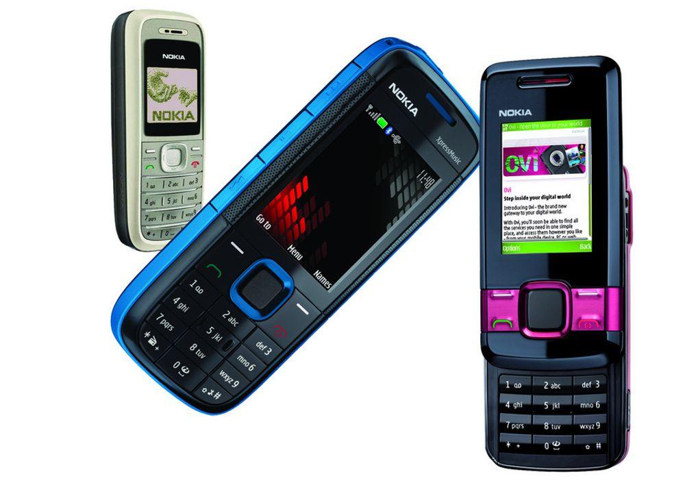 Nokia 1202, 5130 ExpressMusik og 7100 Supernova.