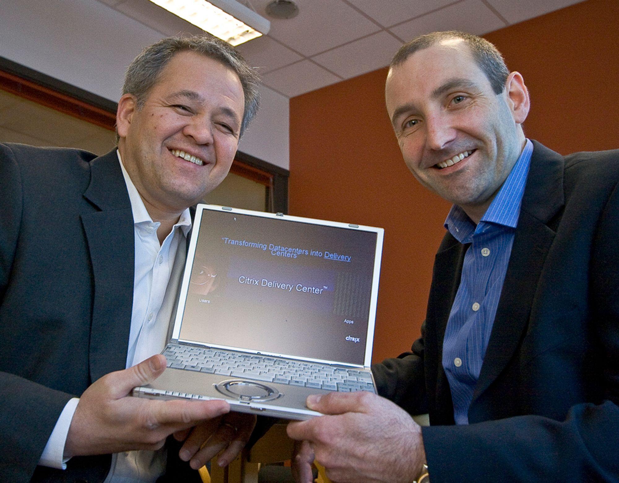 BILLIGERE OG BEDRE: Citrix norgessjef, James Dudek selger virtualiseringens glade budskap sammen med Dave Austin.