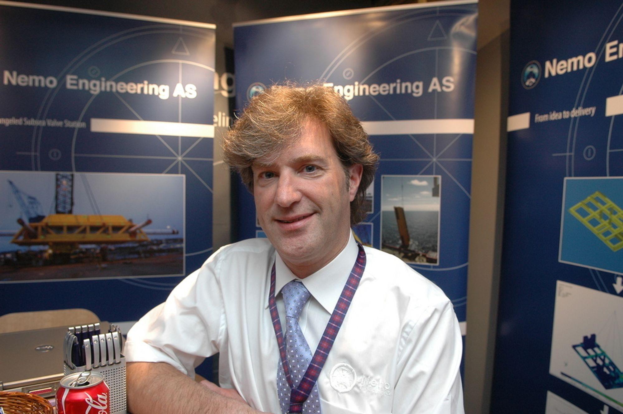 KONTAKTSØKENDE: Direktør Håkon Strømberg i Nemo Engineering var på OTC for å treffe nordmenn og å skaffe seg kontakter inn i det stigende undervannsmarkedet i Den mexicanske golfen