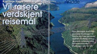 Krysser Hardanger med høyspentledninger