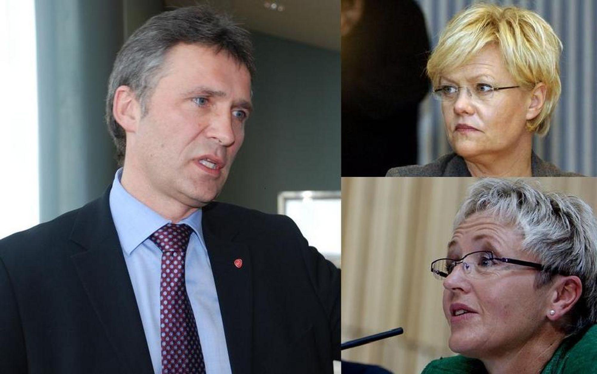 ALENE: Statsminiser Jens Stoltenberg må for første gang tåle dissens fra både Krsitin Halvorsen og Liv signe Navarsete samtidig.