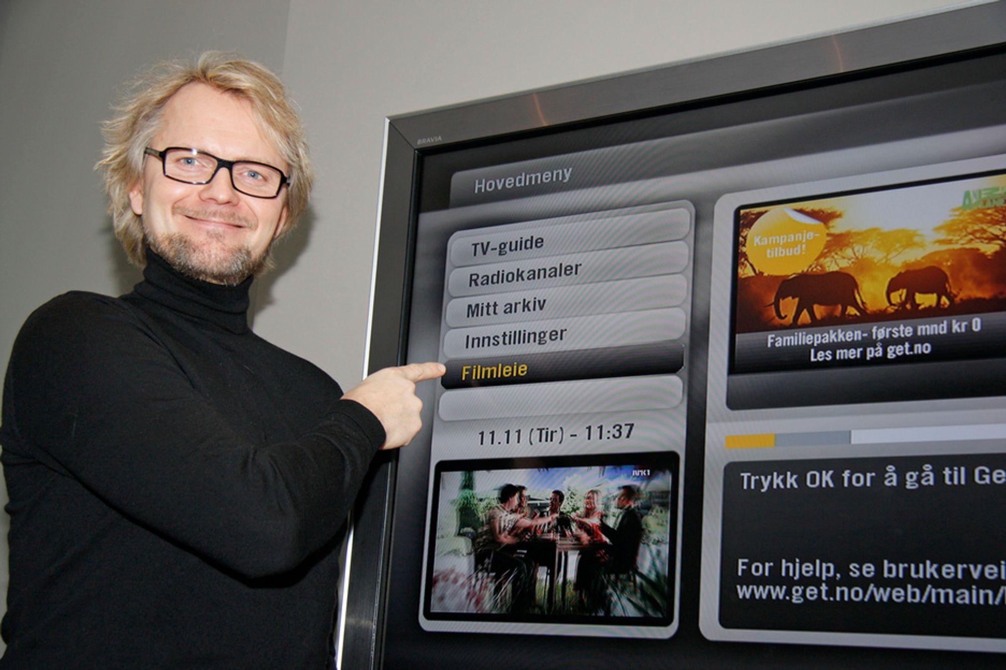 Programdirektør Tom Jahr i Get påpeker at det er klare fordeler med å leie filmen over kabelnettet, blant annet at at det er nok til alle og ingen transportkostnader.