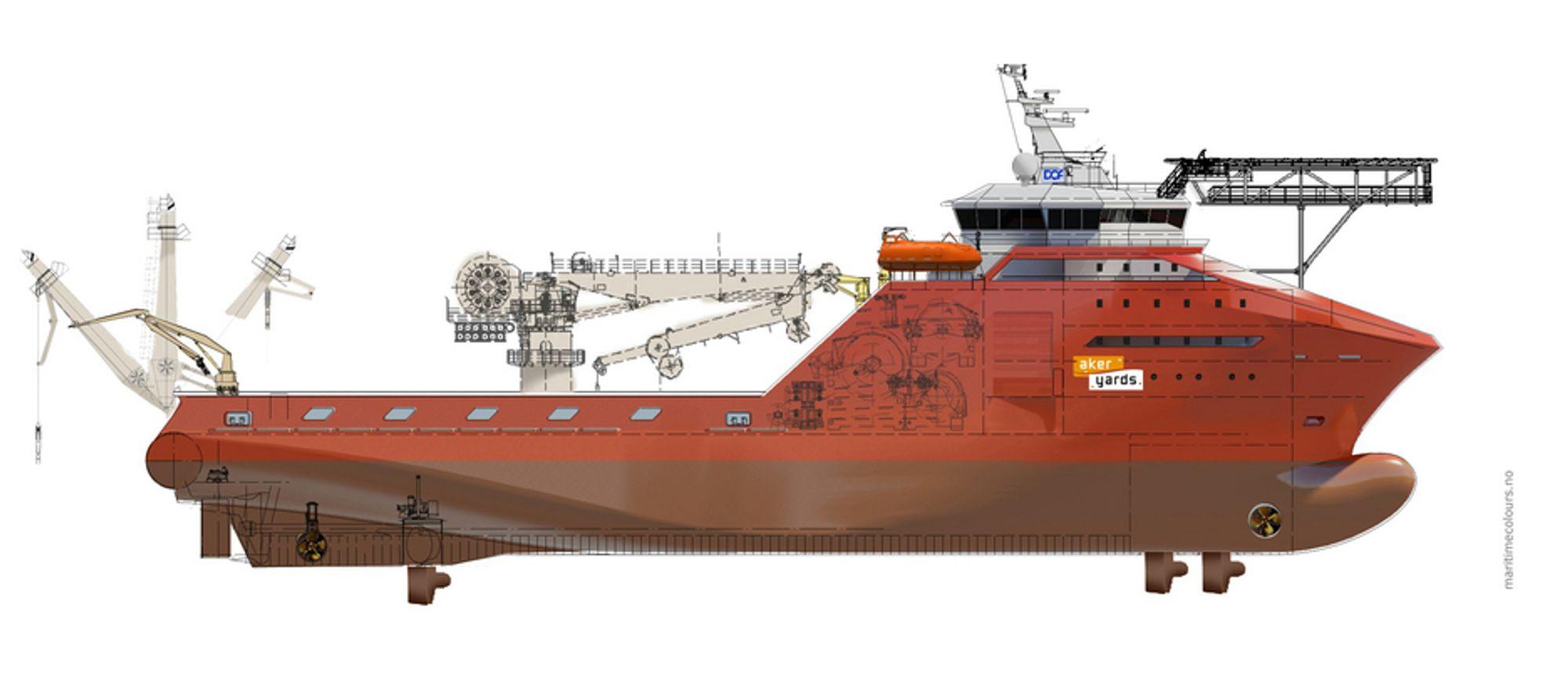KRAFTIG RUGG: StatoilHydro har chartret inn DOFs avanserte ankerhåndteringsfartøy  fra første kvartal 2010. Skipet bygges av Aker Yards Aukra og overleveres ved årsskifte 2009-10.