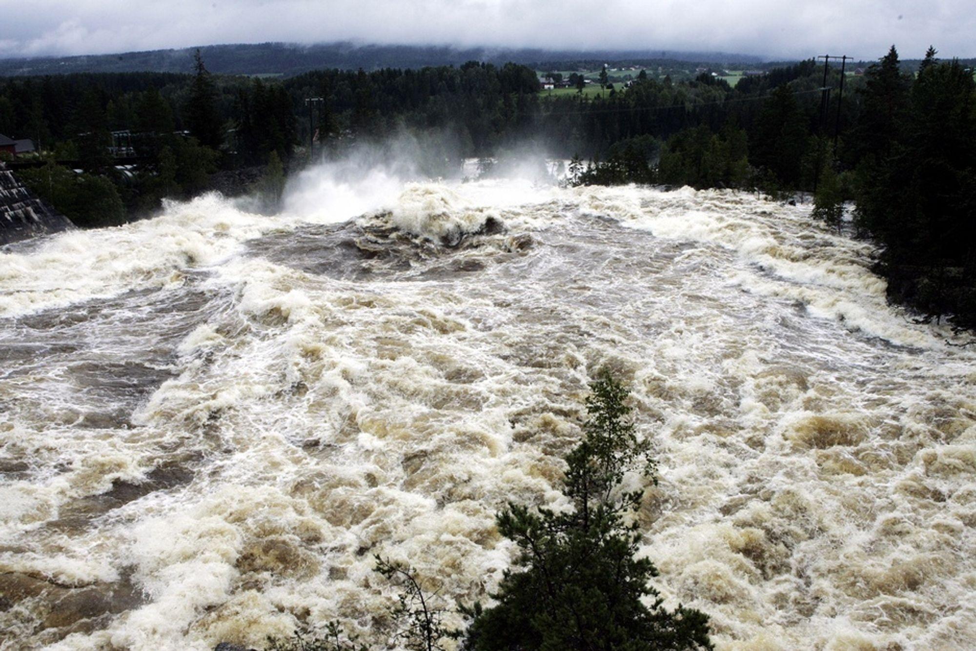 STORFLOM: I fjor sommer rant det 20 ganger mer vann enn normalt i Numedalslågen.