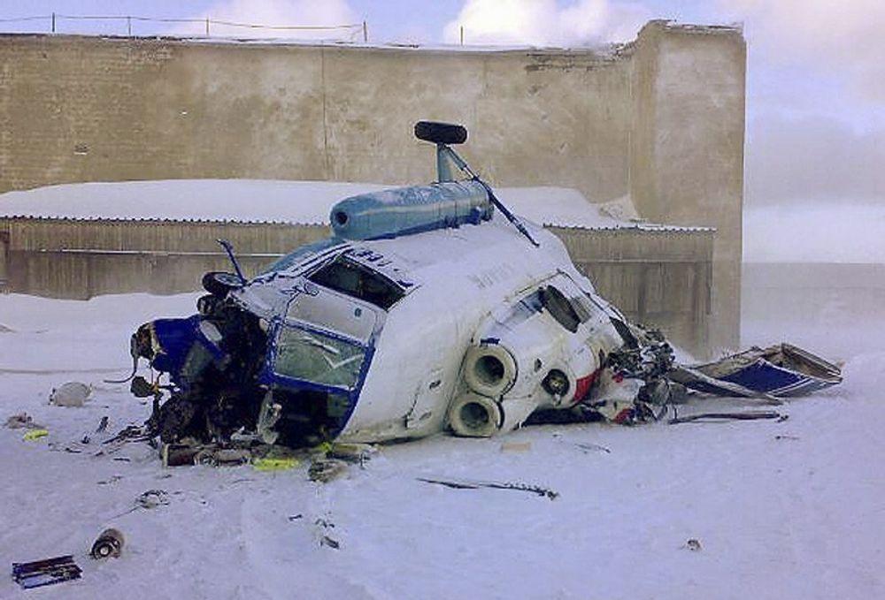 Helikopteret av typem Mi-8MT styrtet på landingsbasen på Kapp Heer ved Barentsburg klokka 16 søndag 30. mars.