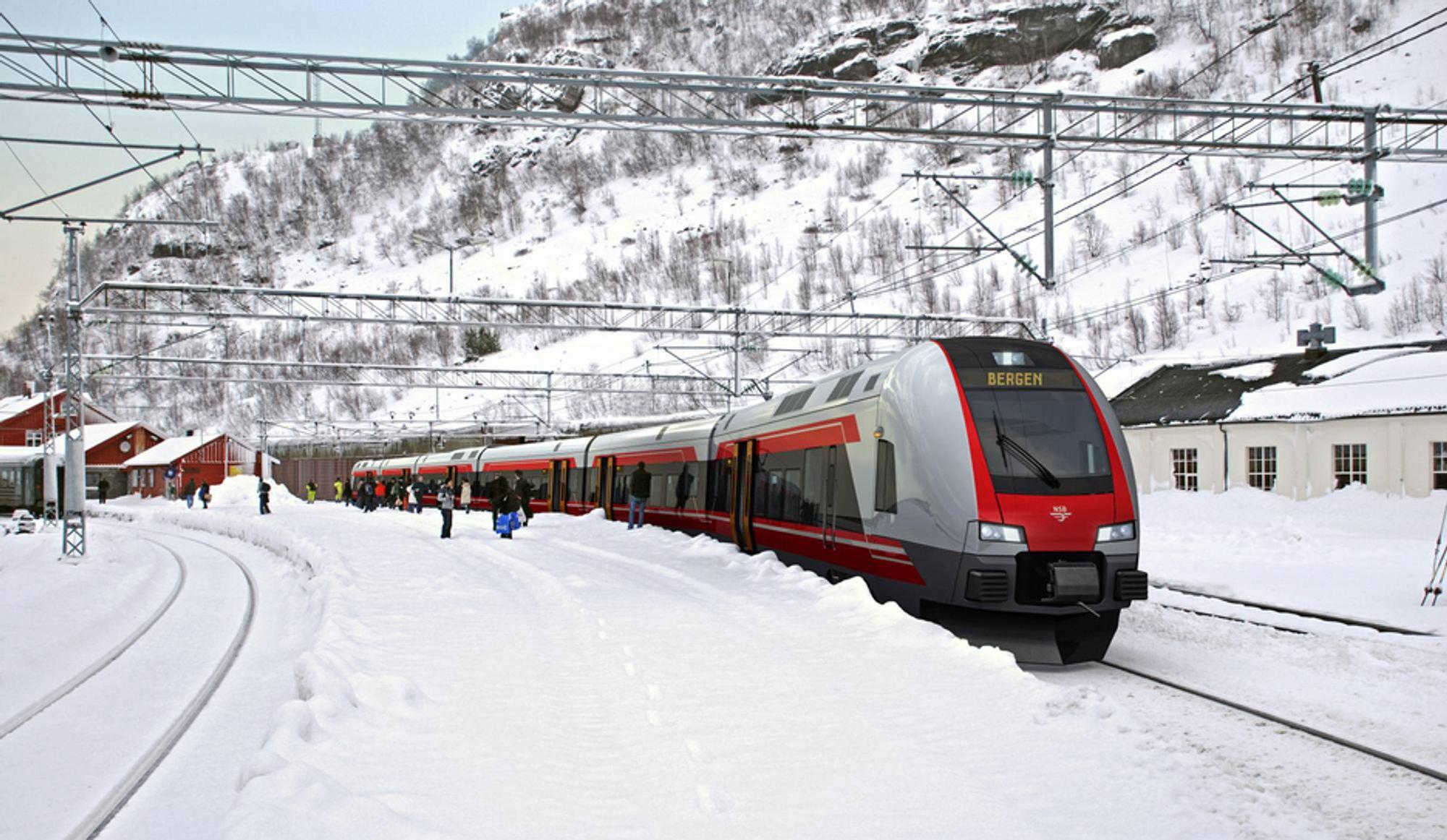 Stadler Flirt er bygget for å takle krevende jernbanestrekninger og tøffe vintre, som her på Myrdal stasjon (866,8 moh) i Aurland.