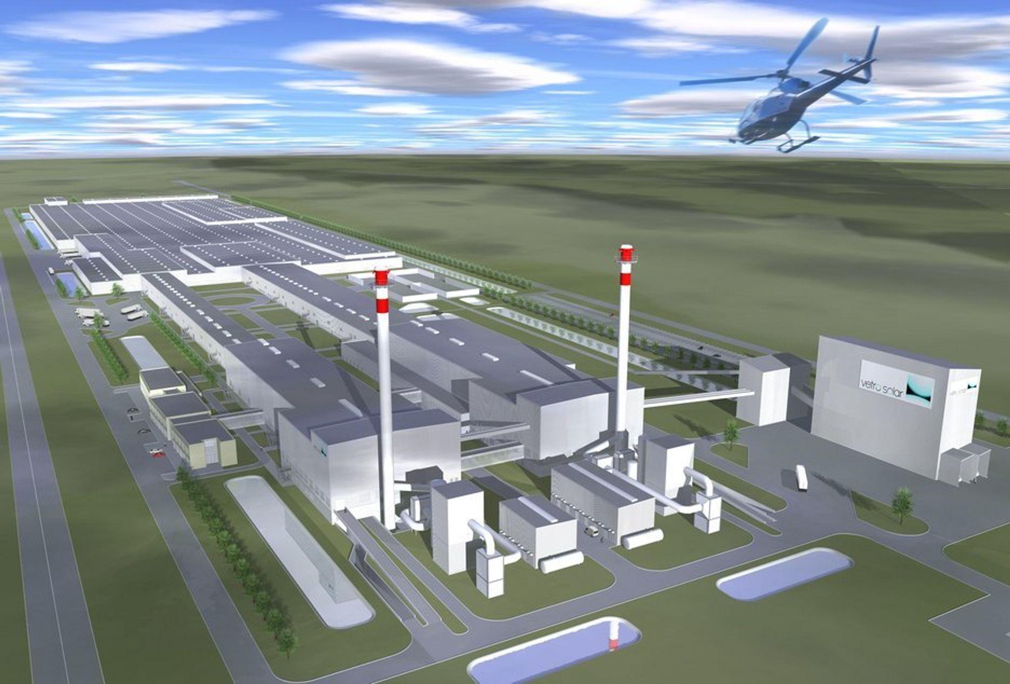 VERDENS STØRSTE: Vetro Solar planlegger fabrikk i den såkalte Solar Valley i Thalheim, øst i Tyskland. Det blir verdens største anlegg for prosessering og produksjon av glass til solarindustrien.