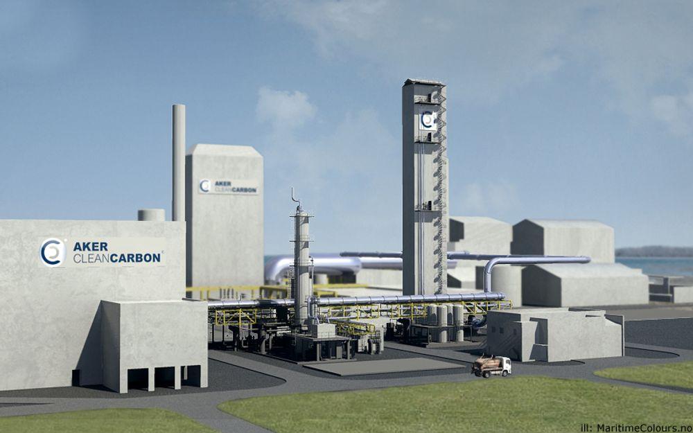Illustrasjon: Slik kan karbonfangstanlegget til Aker Clean Carbon bli seende ut.