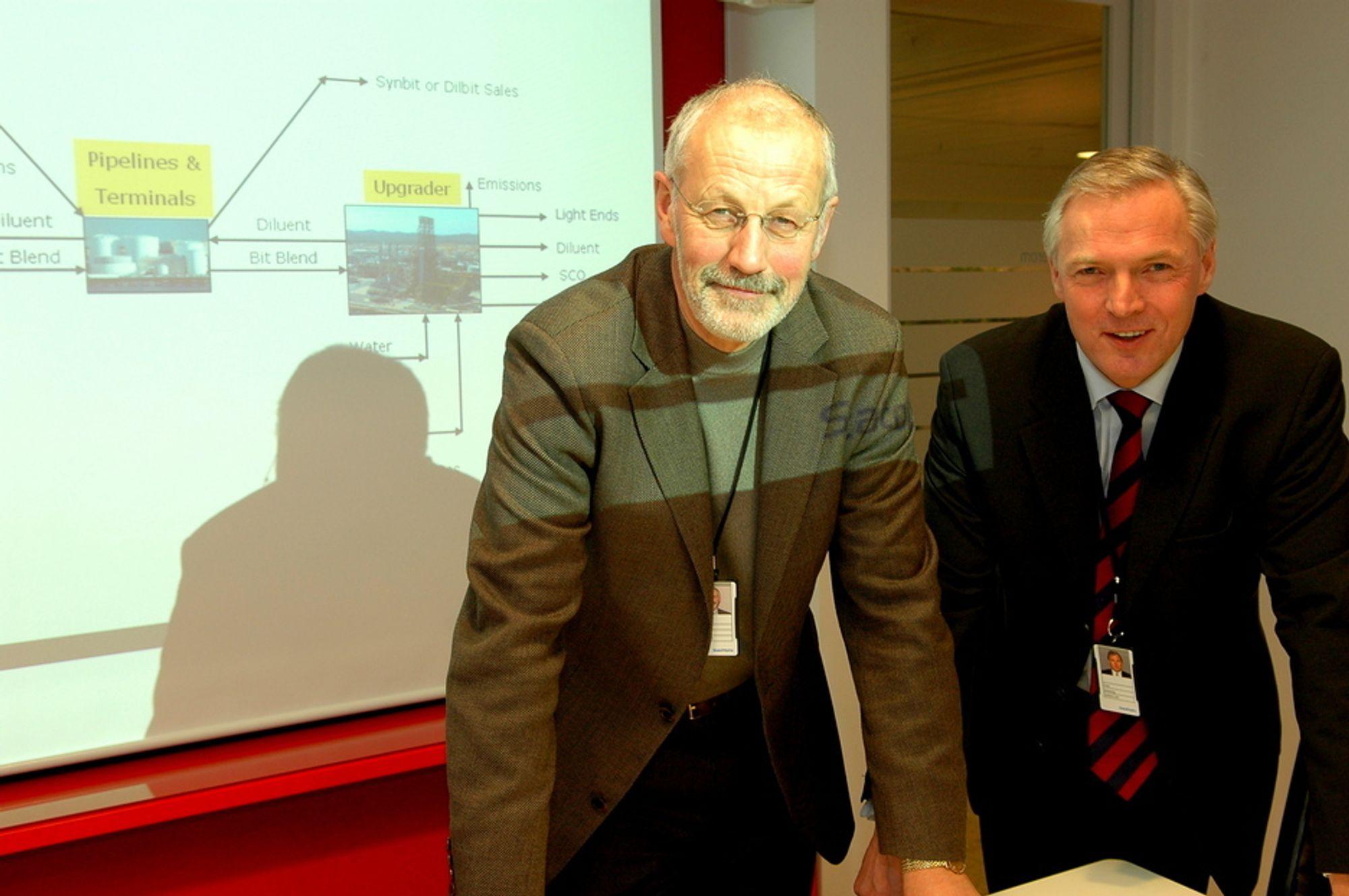 Stig Bergseth (t.v) og Geir Jøssang, direktør for StatoilHydro Oilsands.