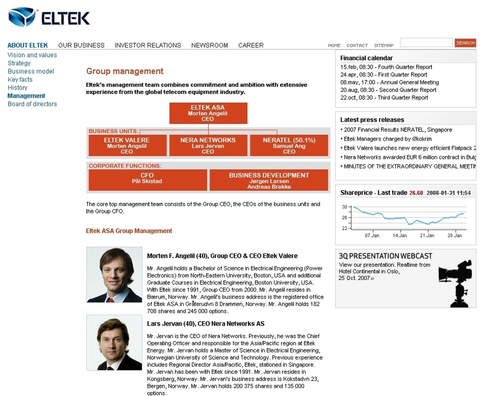 TOPPENE: Morten Angelli og Lars Jervan presenteres på Elteks hjemmesider sammen med resten av ledelsen.