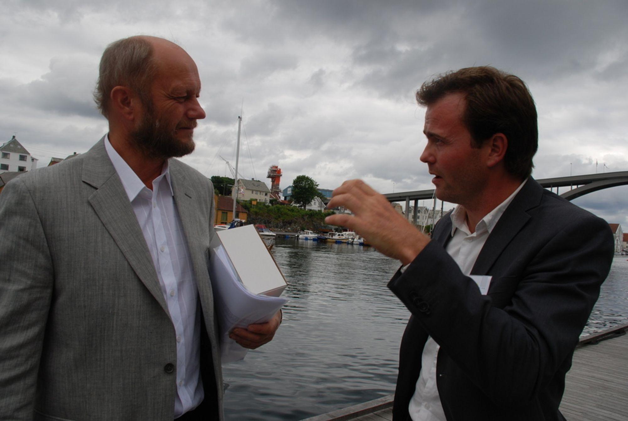 ENIGE: Toppsjef i Norsk Industri, Stein Lier-Hansen og nestleder i Bellona er enige i mye når det kommer til virkemidler som kan redusere klimautslipp fra kraftkrevende industri.