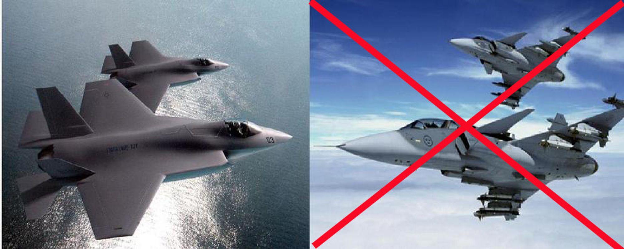 KAMPFLYKAMP: Duellen ble ikke bare mellom utkjempet mellom svenske JAS Gripen og amerikanske JSF (til venstre), men også mellom industripartnere og mulige partnere.
