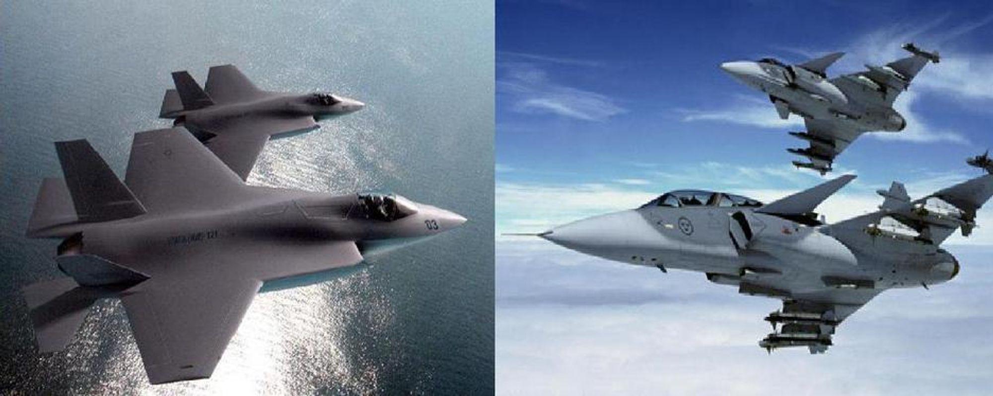 LUFTKAMP: Meningene er fortsatt sterke og delte over hvorvidt amerikanske Joint Strike Fighter (til venstre) eller svenske JAS Gripen bør bli Forsvarets nye jagerfly.