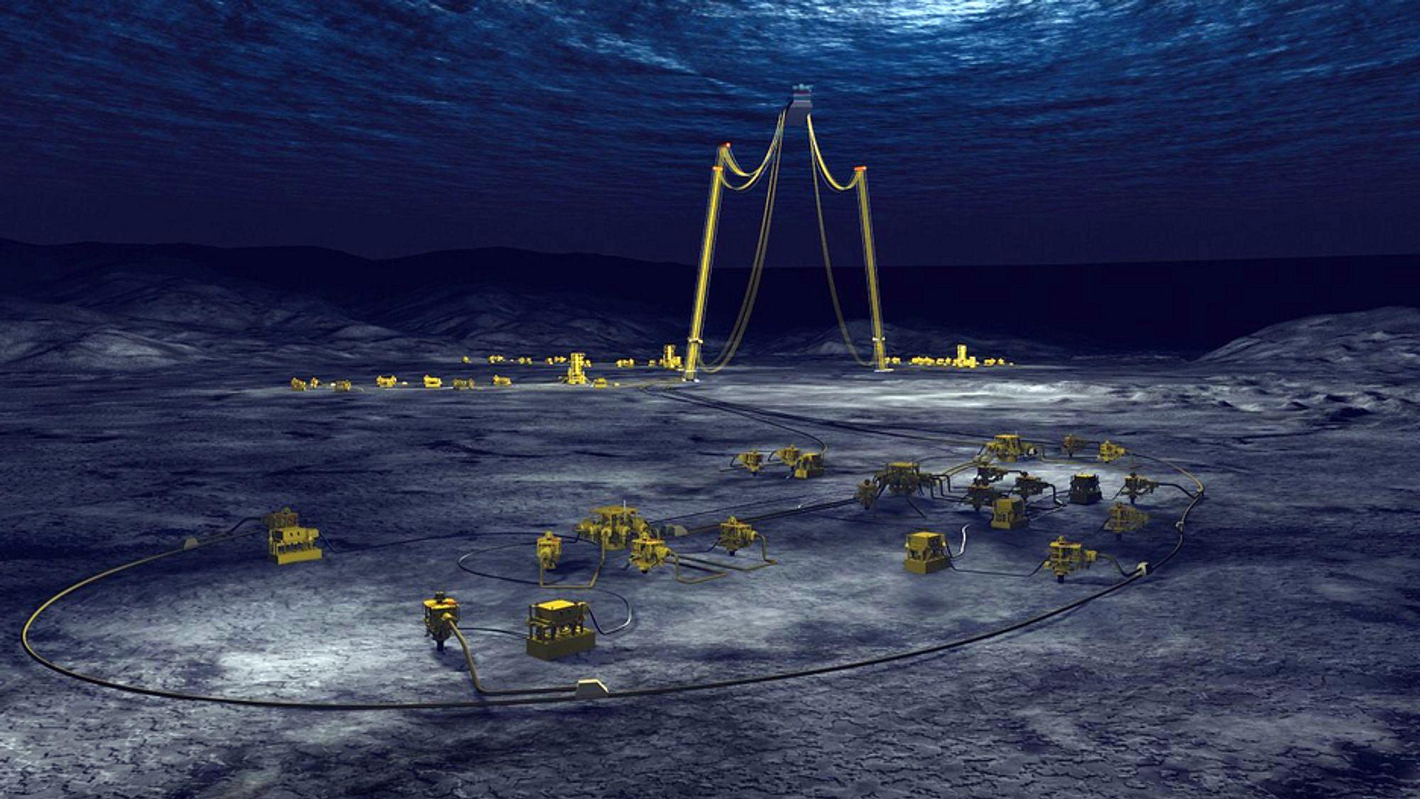 Slik vil Pazflor-feltet se ut når FMC Technologies har bygget ut havbunnen.