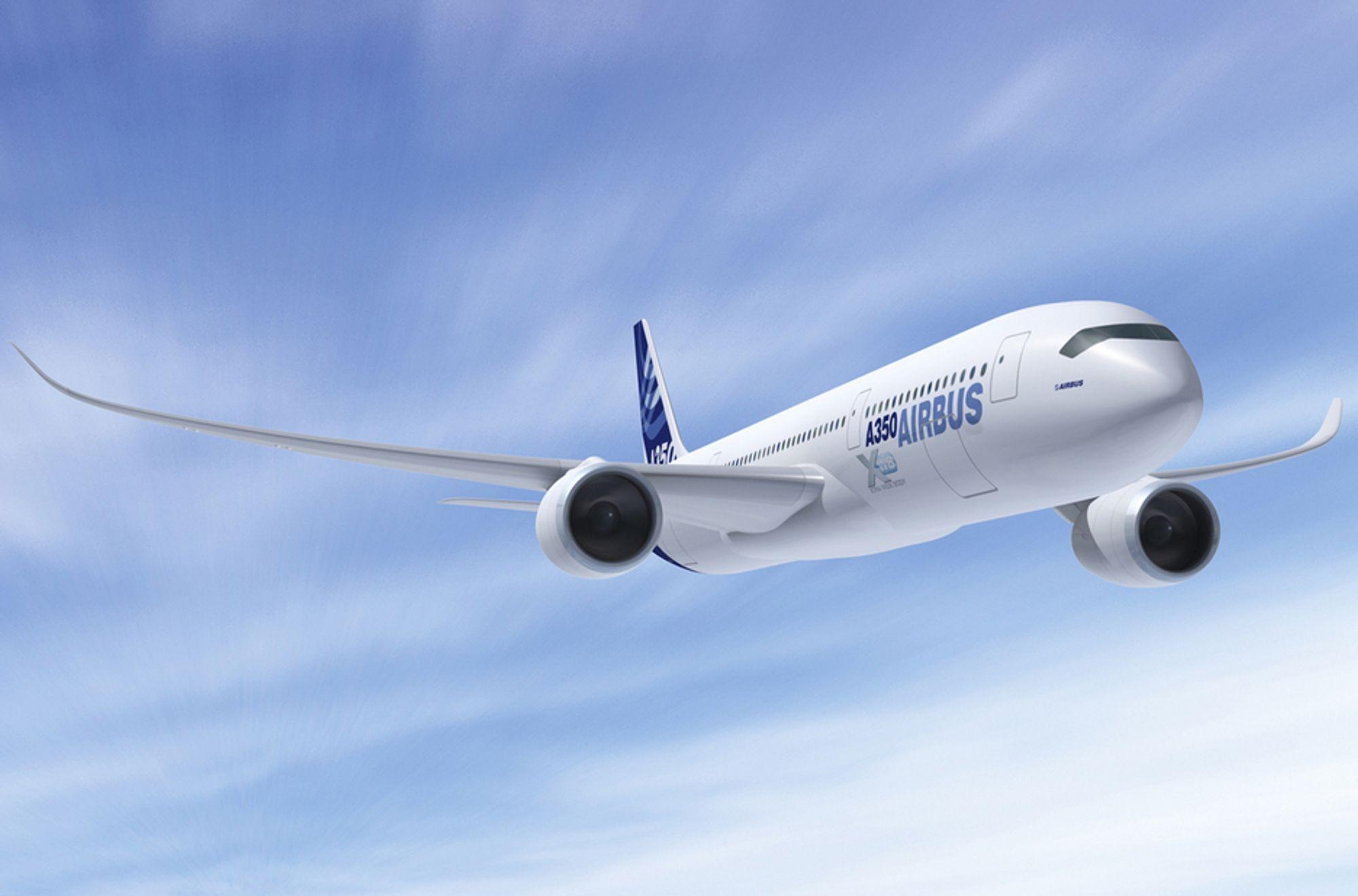 Airbus håper deres nye, superlette A350 XWB-fly, som ble lansert i november 2007, vil selge godt. De to første flyene av denne typen er nå solgt. Bildet viser A350-900 - det mellomste flyet i XWB-familien.
