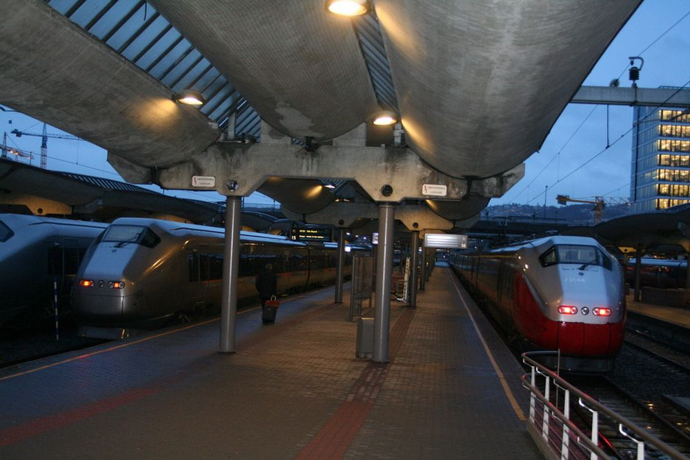 Stillestående tog på Oslo S etter at jordingsfeil stoppet signalanleggene og 70.000 reisende onsdag 16. januar 2008.
