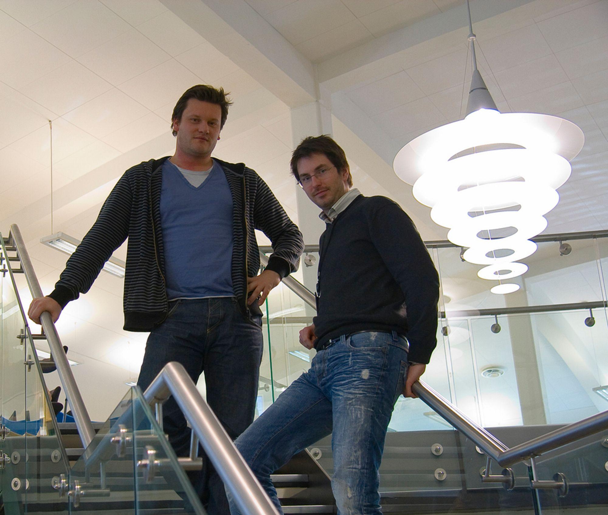 VERDENSMESTRE: Borgar Ljosland, til høyre, og Edvard Sørgård leder ARMs avdeling for grafikkdesign som lager verdens høyeste grafikkytelse per watt.