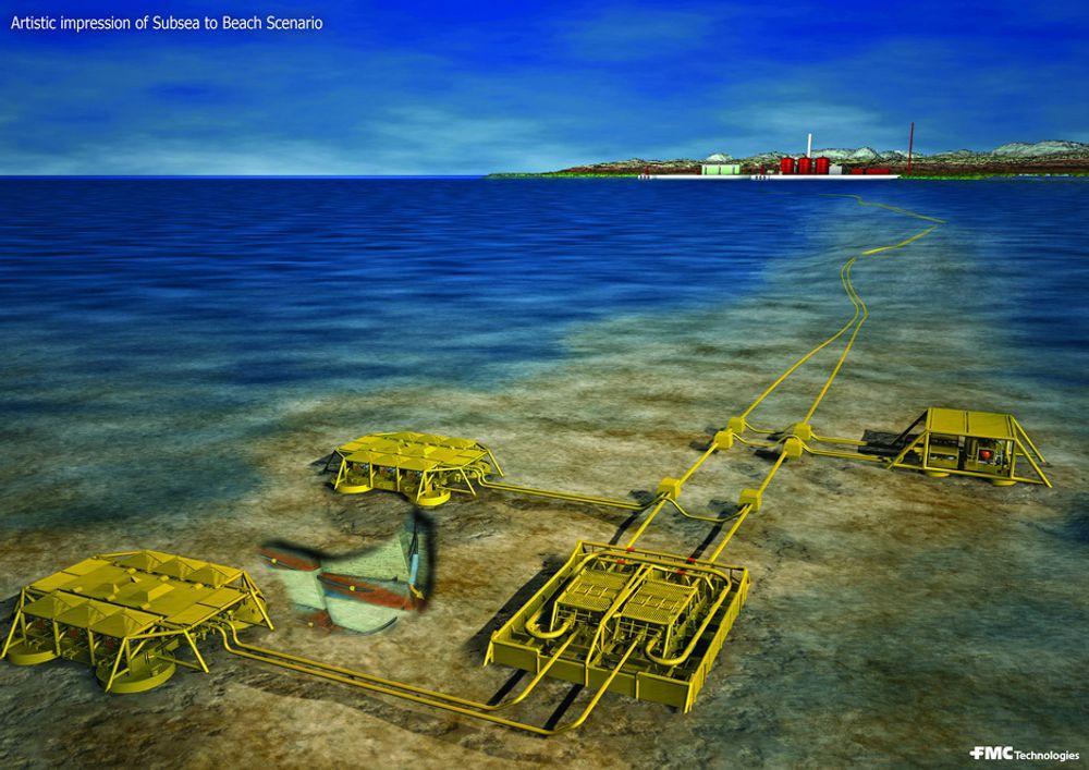 MORGENDAGENS UTBYGGING: Ormen Lange er det første gassfeltet med brønner i havet og prosessering på land. Goliat ville vært det første oljefeltet med en slik løsning. Ill: Industriell Dokumentasjon