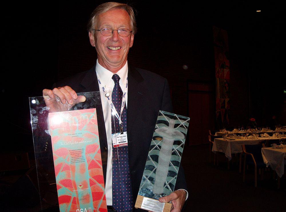 HMS-VINNER: Administrerende direktør i Oljeindustriens landsforening (OLF), Per Terje Vold, mottok Petroleumstilsynets HMS-pris under ONS 2008.