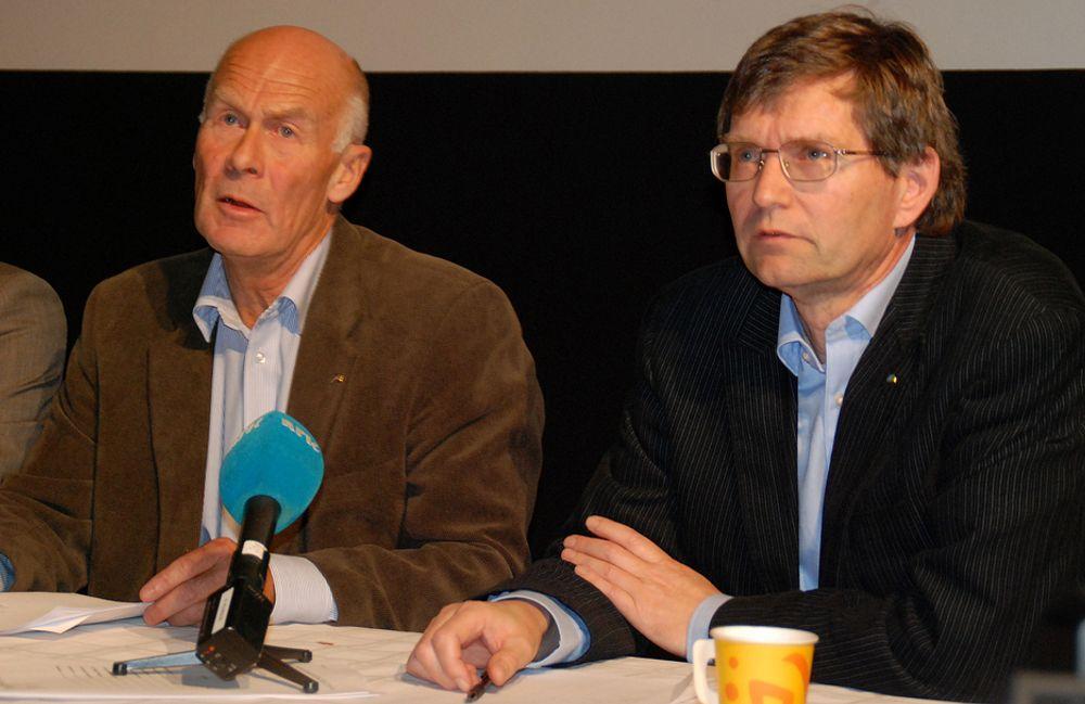 BEKYMRET: BNLs Sverre A. Larssen, og Per Jæger fra Boligprodusentenes Bransjeforening.