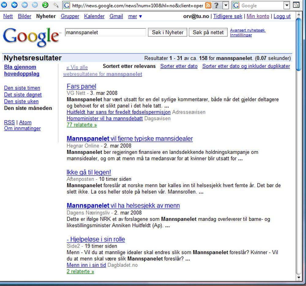 NYHETER: Et søkeord som er aktuelt i nyhetene kan føre deg videre til Google news.