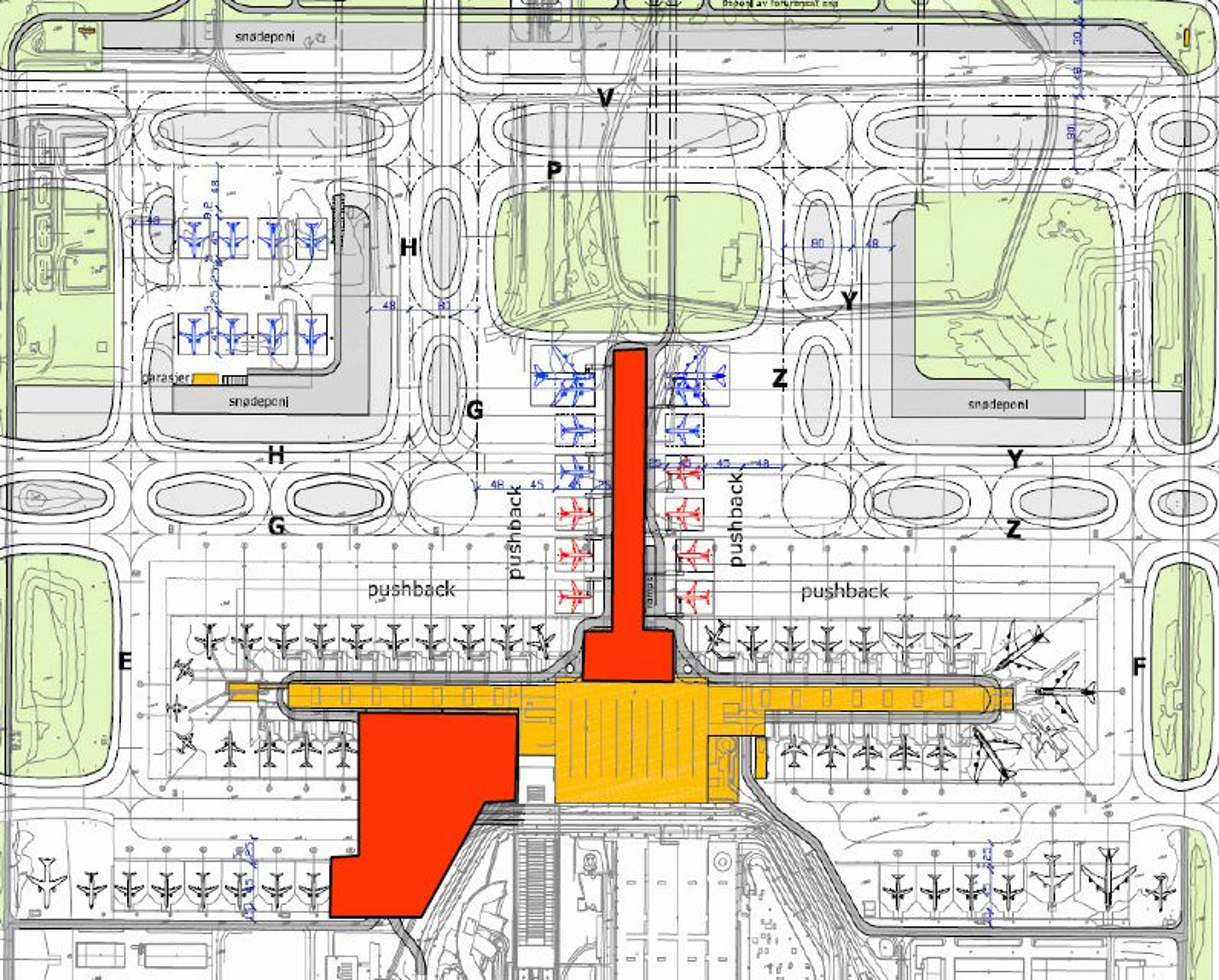 Slik er plantegningen for nye Gardermoen. Avinor-styret vedtok i dag at den nye piren skal bygges rett nordover (i rødt). På tegningen vises også en ny fjernoppstillingsplass og den nye terminalbygningen som tidligere er vedtatt plassert vest for dagens sentralbygning.