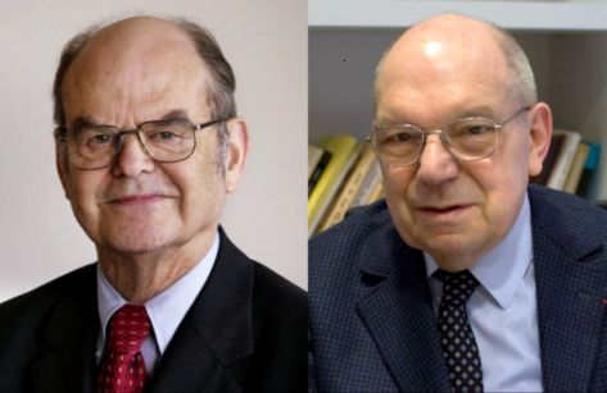 John Thompson (t.v) og Jacques Tits ble i dag tildelt Abelprisen for 2008.