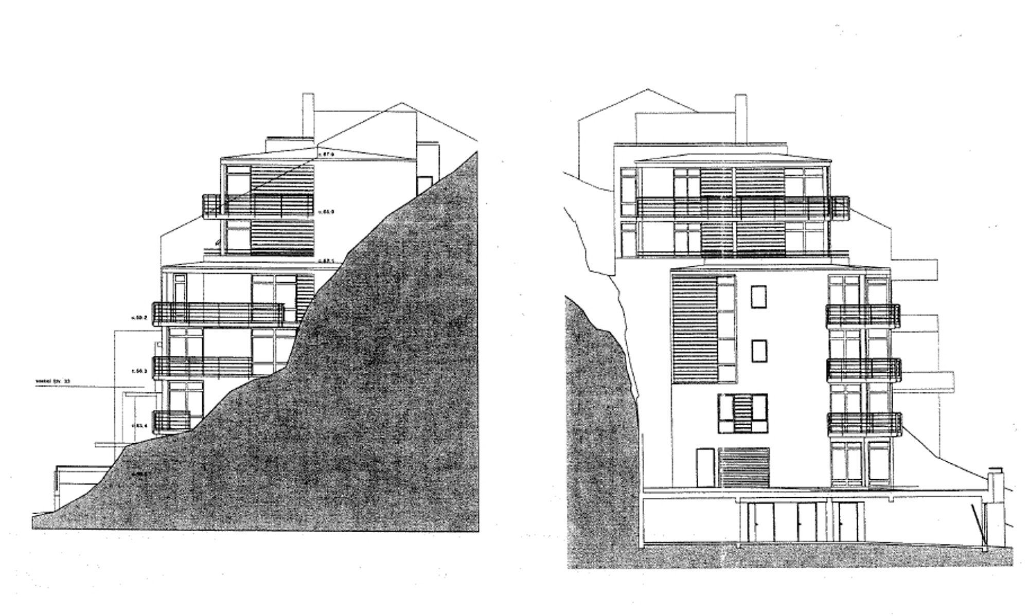 Snittegning av boligblokken i Ålesund.  Den ble bygget med 10 leiligheter og ikke 17, som først søkt om.