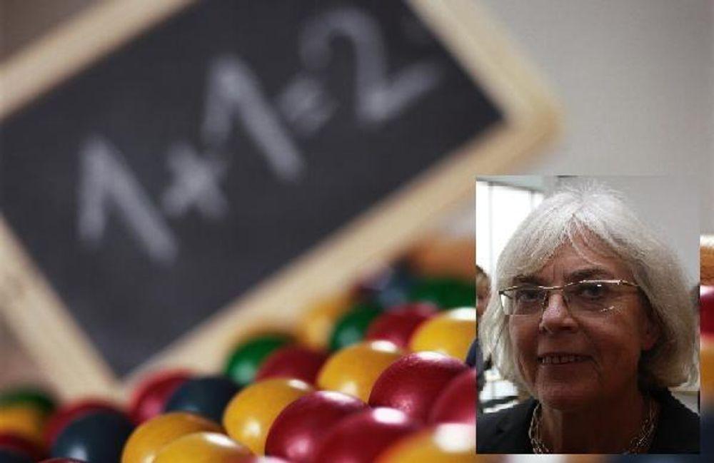 FRAM MED KULERAMMA: Birgitta Stymne (innfelt) og NOKUTs evalueringskomité vil prøve ut minstekrav for mattekarakterer fra videregående.