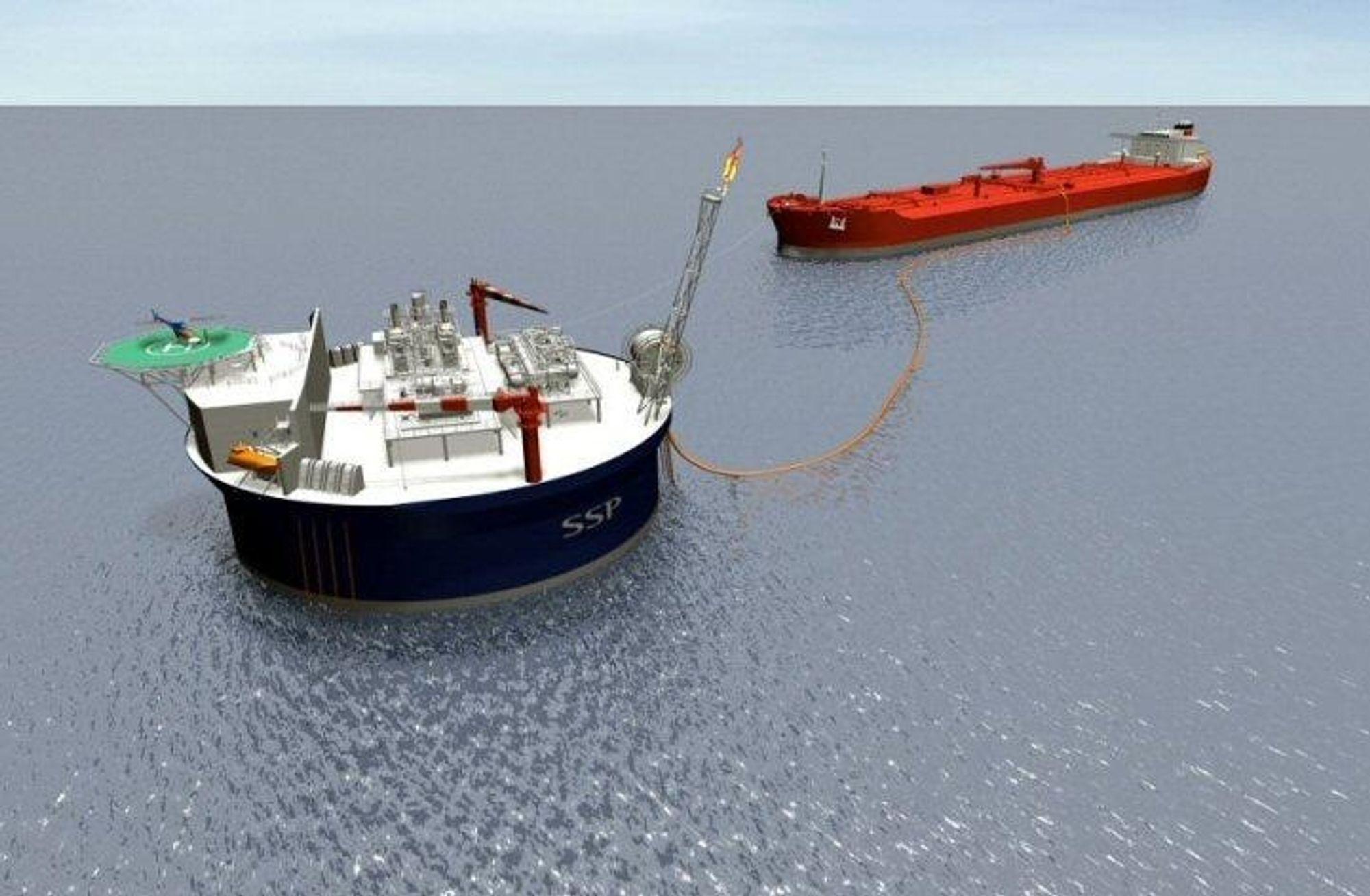 RUND: SSP 300 plattformen er sirkulær. Prosessanlegget om bord skal konstrueres av Kanfa i Asker, mens ingeniørarbeidene skal gjennomføres i Arendal. ILL SM