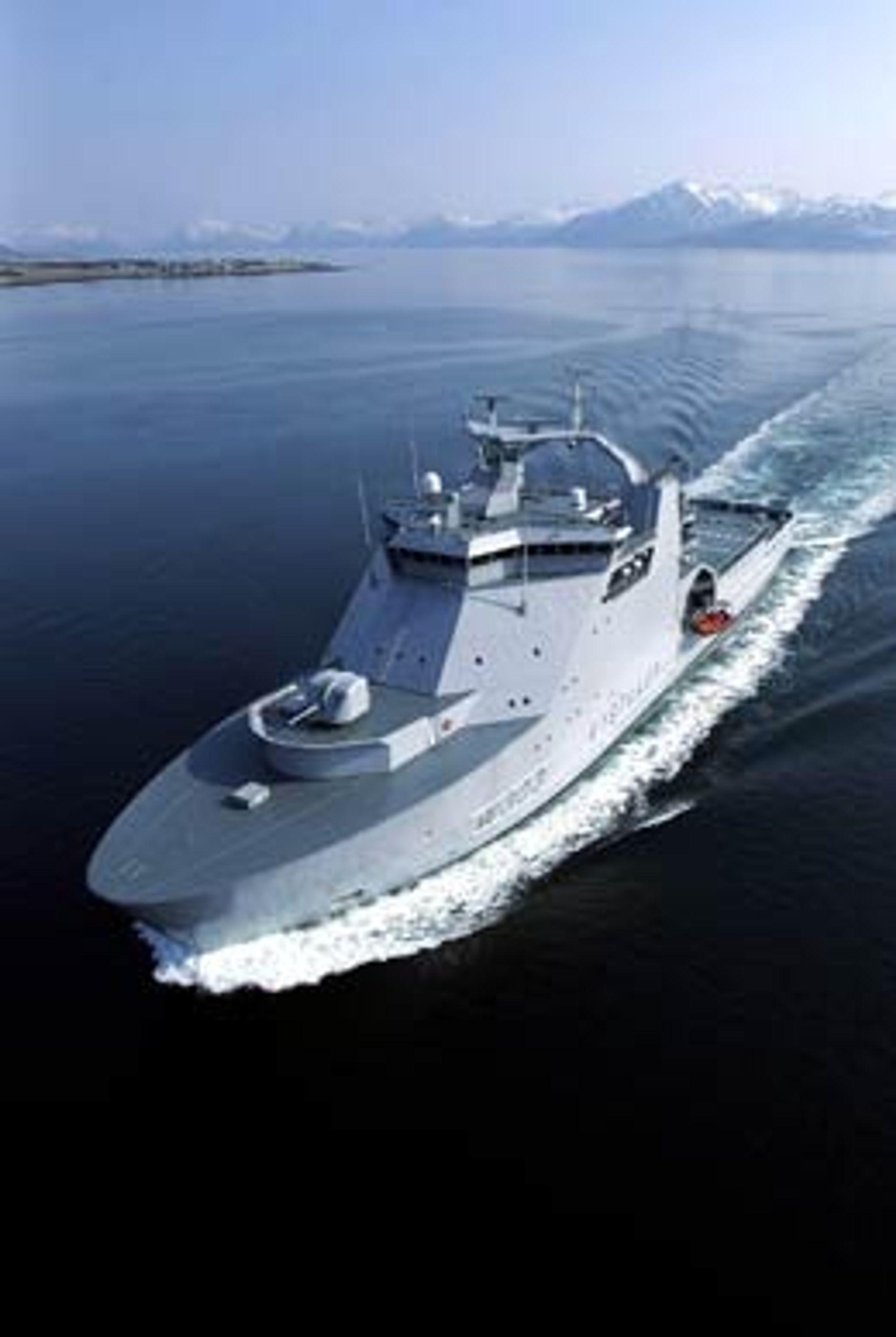 KV Svalbard kan ta tankbåter på inntil 100.000 tonn på slep. Foto: Forsvaret