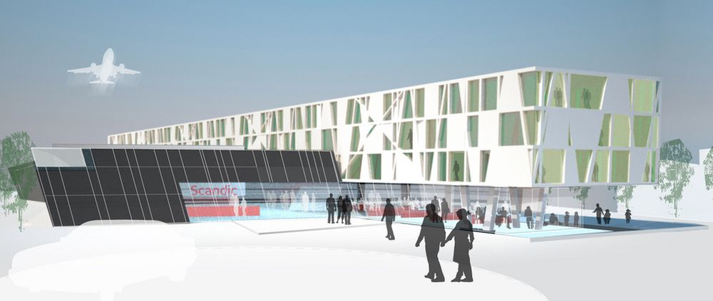 NYTT: Slik skal det se ut, det nye hotellet ved vår hovedflyplass på Gardermoen.