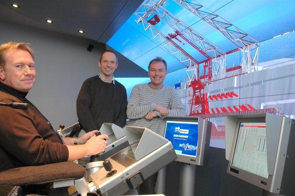 1. GENERASJON: Den første av de nye simulatorene ble installert i Kristiansand. Simulatoren i Houston er langt mer avansert med blant annet et kuleformet lærret som strekker seg over hele 240 grader.