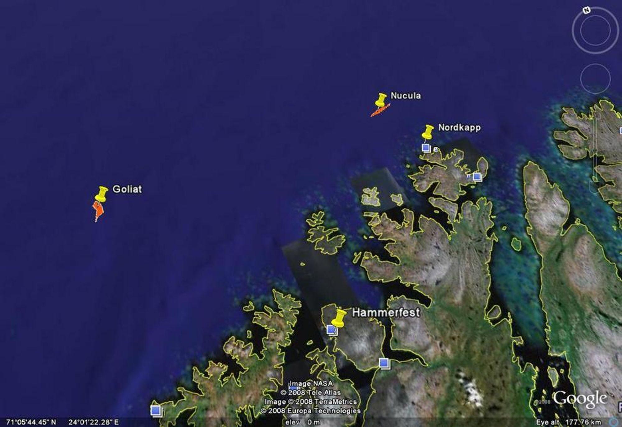 KYSTNÆRE: Både Goliat og Nucula er oljeforekoster som ligger nærme Finnmarks kyster.