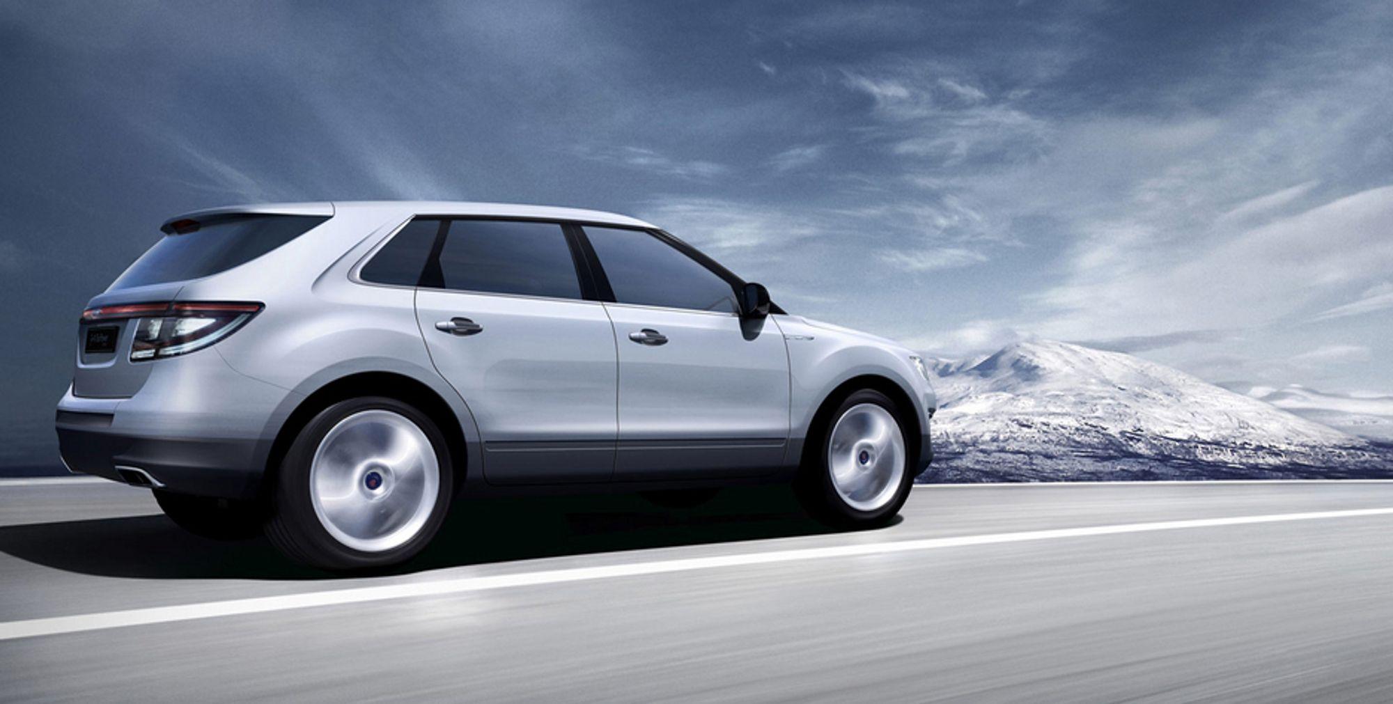 SAABS REDNING?: Saab 9-4x ble presentert på Detroit-messa tidligere i år og kommer for salg i 2009. Bilen skal produseres i USA på en ny GM-plattform.