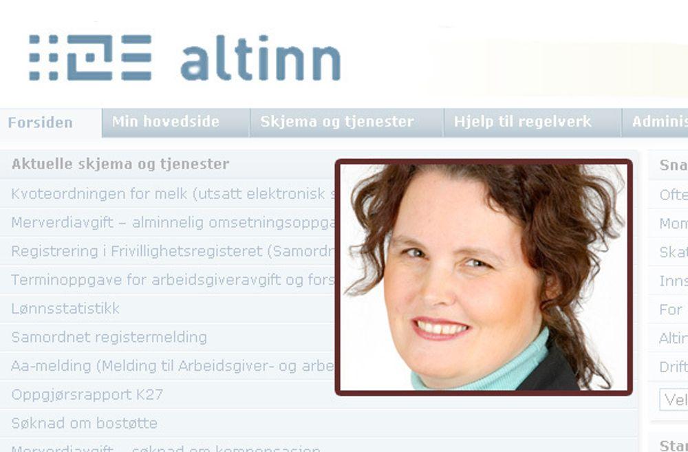 Næringsminister Sylvia Brustad kan skilte med et vellykket bursdagsbarn, men det er ennå mye å hente ut av Altinn-portalen.