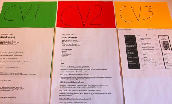 TEST: CV2 var best likt, mens ekspertene ikke var helt enige om hva som fungerer best av CV1 og CV3.