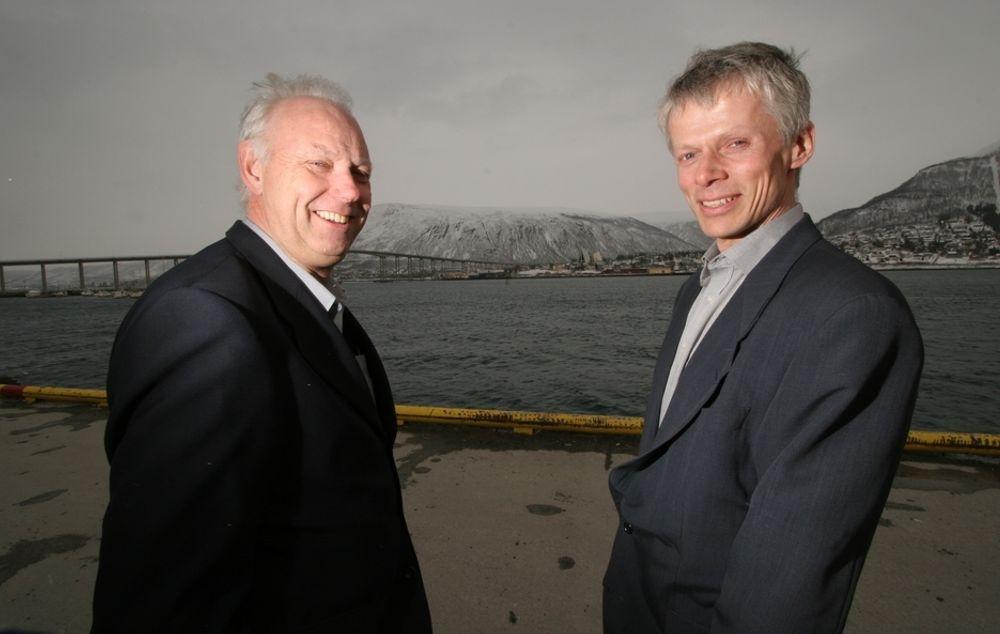VIL HA FART PÅ OFFENTLIG IT: ErgoGroup-direktør Håvard Larsen og Hans dirketør Christian Holte i Direktoratet for forvaltning og IKT var i Tromsø for å holde foredrag for offentlige saksbehandlere.