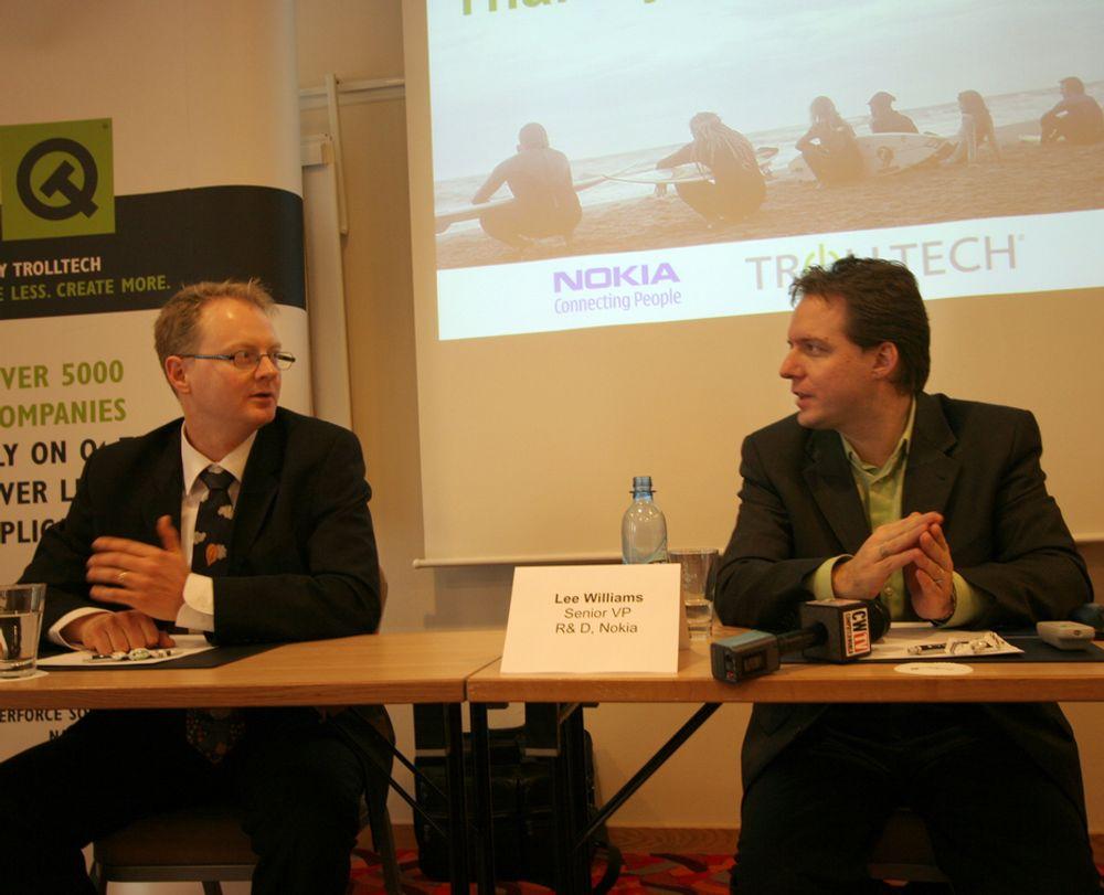 CONNECTING PEOPLE: Trolltechs administrerende direktør Eirik Chambe-Eng OG Nokias FoU-direktør Lee Williams under pressekonferansen der Nokias oppkjøp av trolltech ble kommentert.