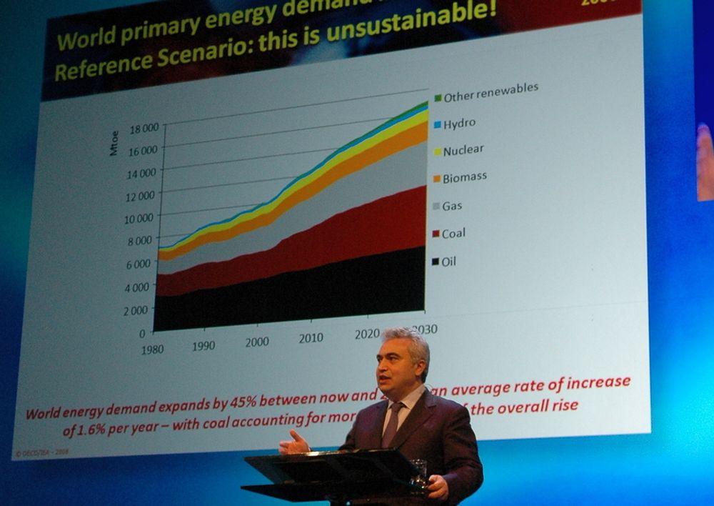 IKKE BÆREKRAFTIG: - Dagens energiforbruk og klimautslipp er ikke bærekraftig. Vi kan få en klimakatastrofe, sier Fatih Birol i IEA.