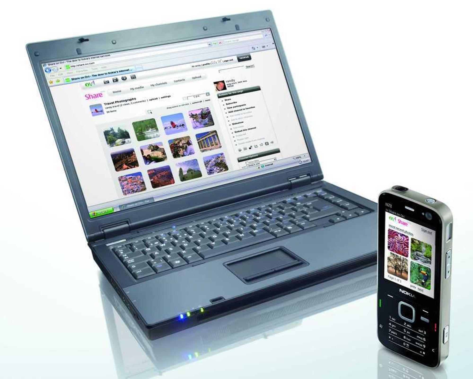 DEL INFORMASJONEN: Med Nokia N78 og en PC kan du lett dele informasjon med andre via webben.