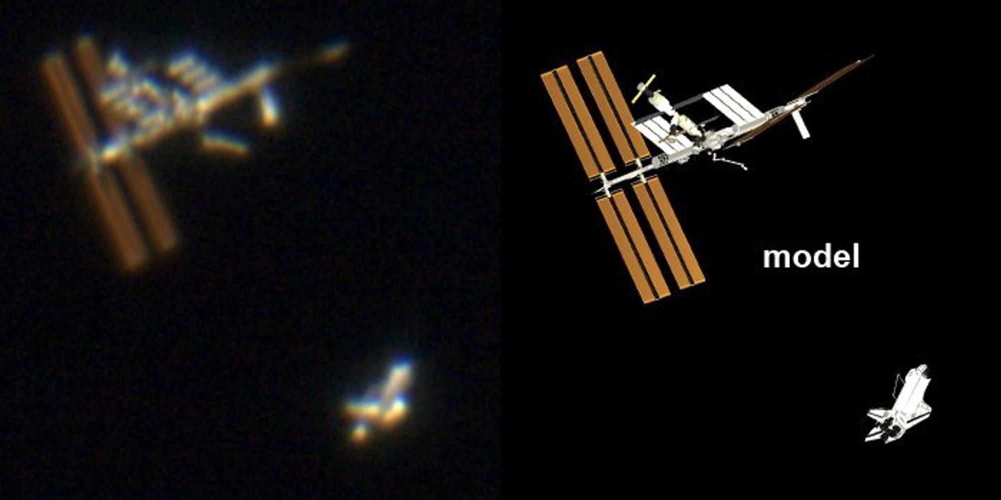 ISS og Atlantis fotografret gjennom et teleskop i helgen.