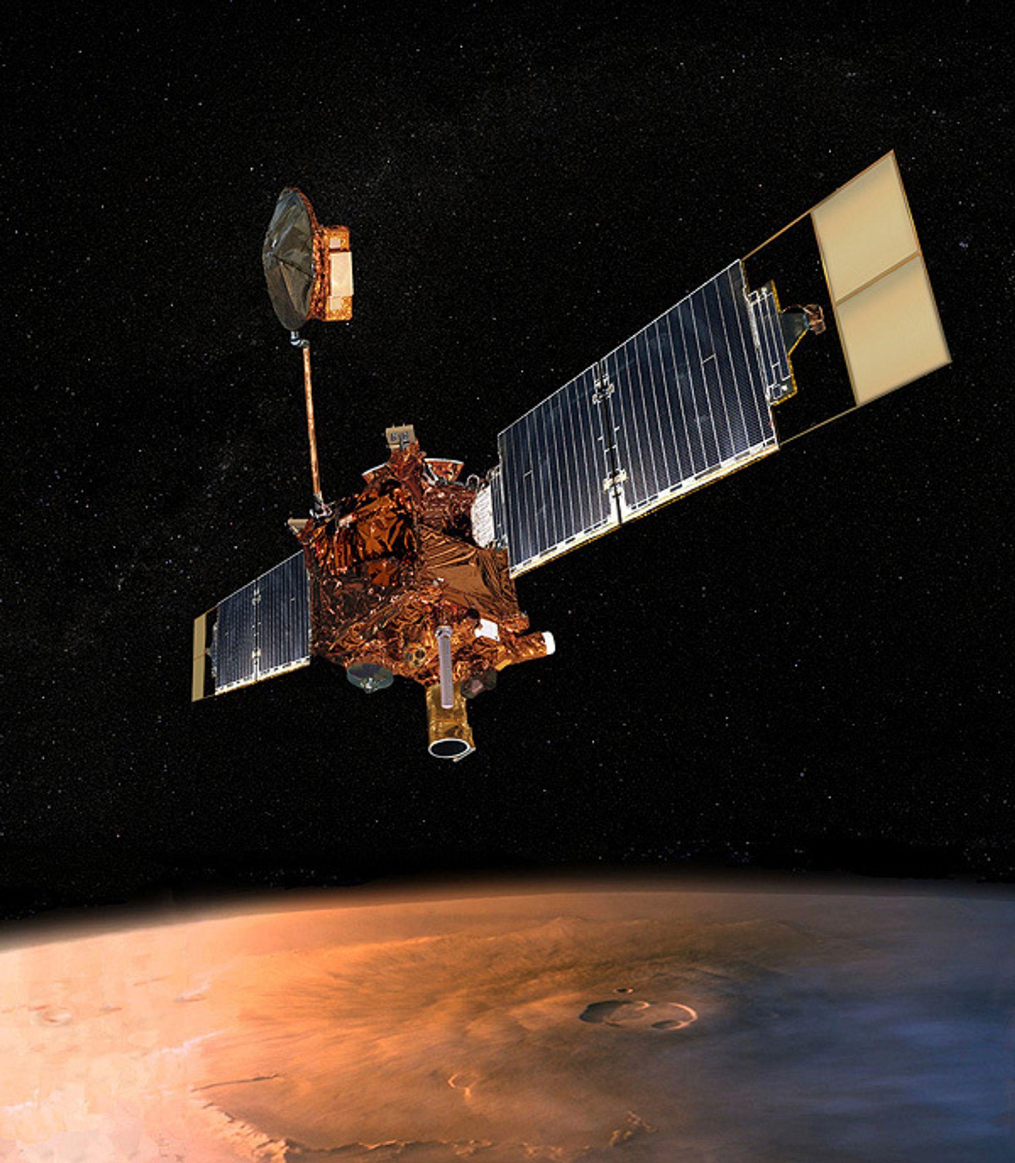 FORSVUNNET: Romsonden Mars Global Surveyor seiler sin egen sjø et eller annet sted ute i rommet. NASA mistet kontakt i begynnelsen av november 2006.