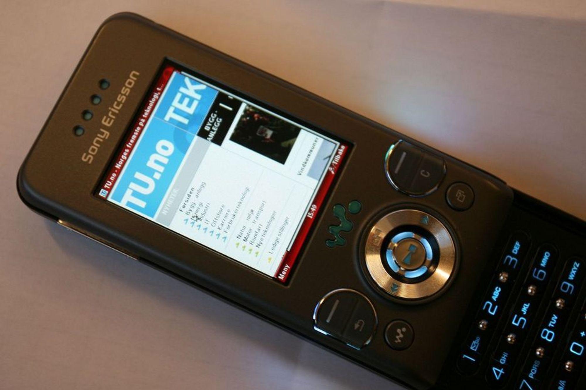 Slik ser det øverste hjørnet av TU.no ut i Opera Mini 4.