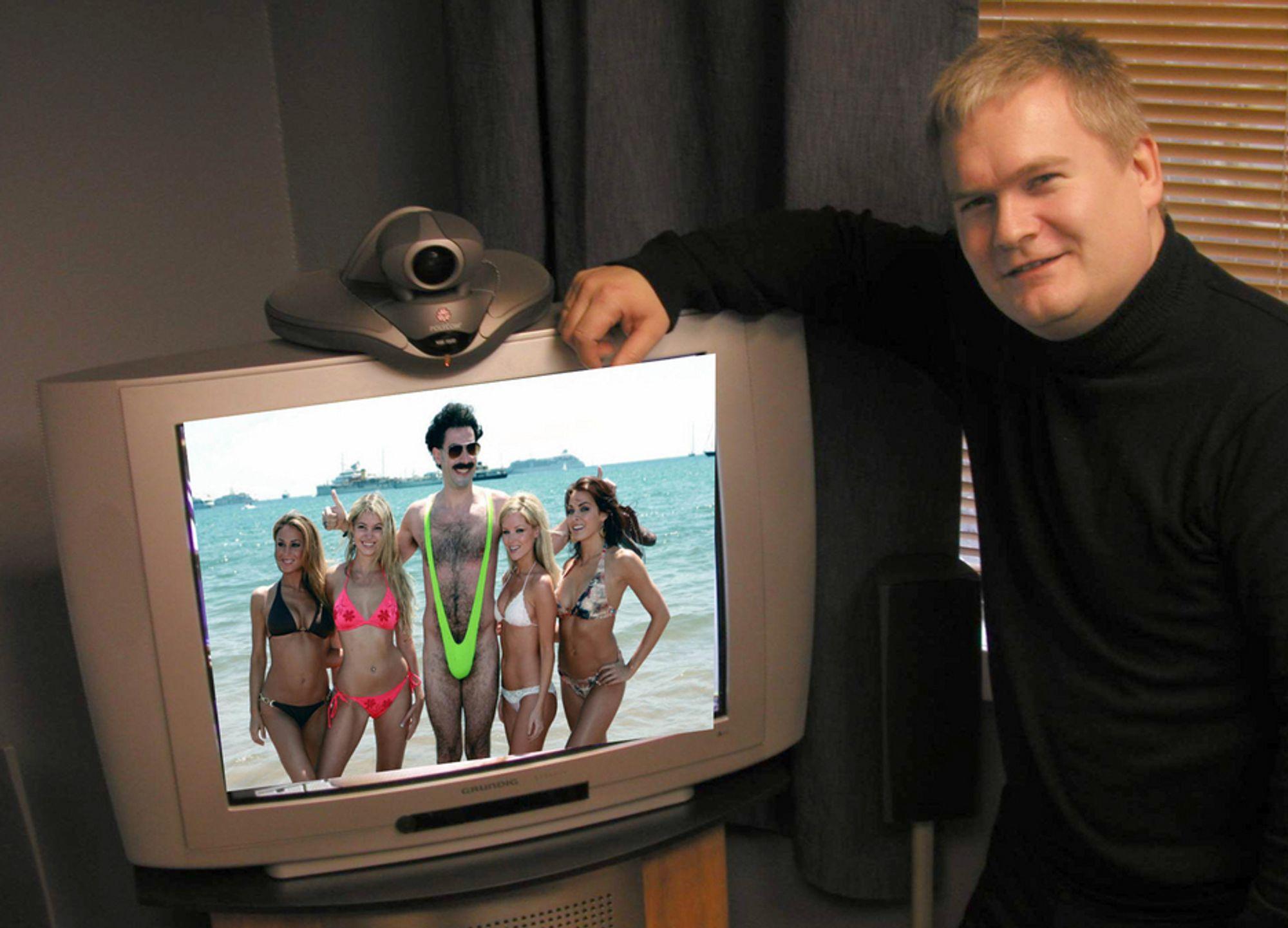 VENTER PÅ BORAT: Hans Johan Tofteng i Avikom skal bistå Kasakhstan med avanserte videokonferanseløsninger. Men det spørs om han vil få filmet Borat og hans ledsagere.