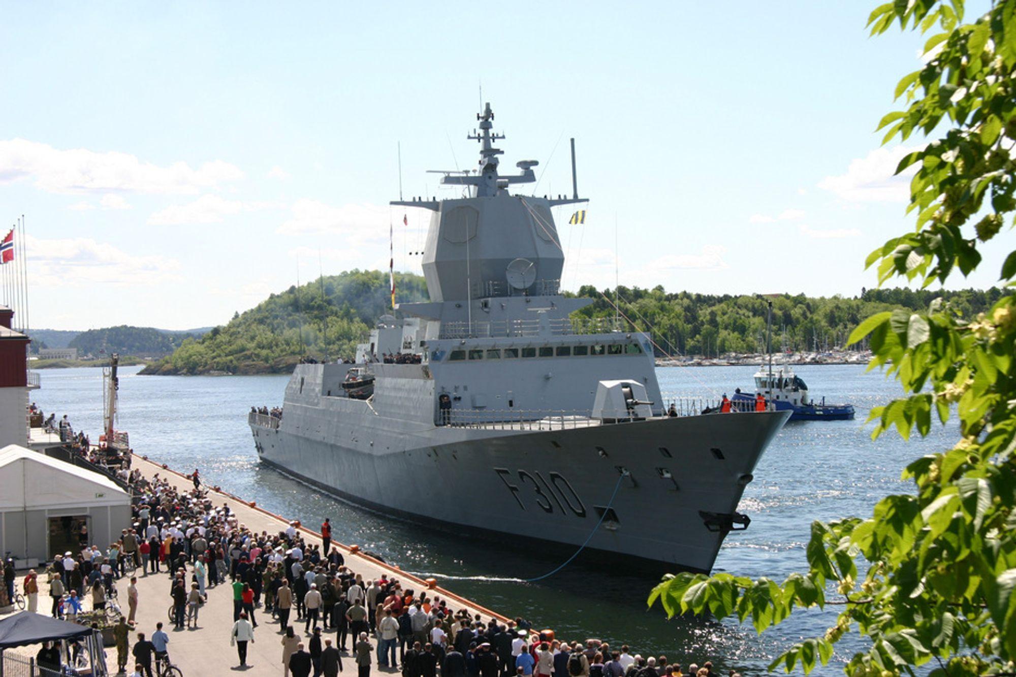 NYTT SYSTEM: De nye fregattene (bildet) og MTB-ene skal utstyres med åtte NSM-raketter hver, til bruk mot andre overflatefartøyer.
