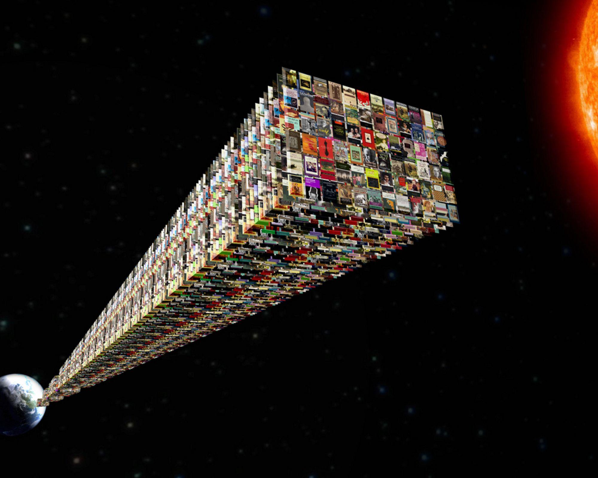 REKORDMYE: 988 milliarder gigabytes er ufattelig mye data! Dersom dette skulle lagres på papir ville dette ha tilsvart 72 stabler av den siste Harry Potter-boken, fra jorden til solen.
