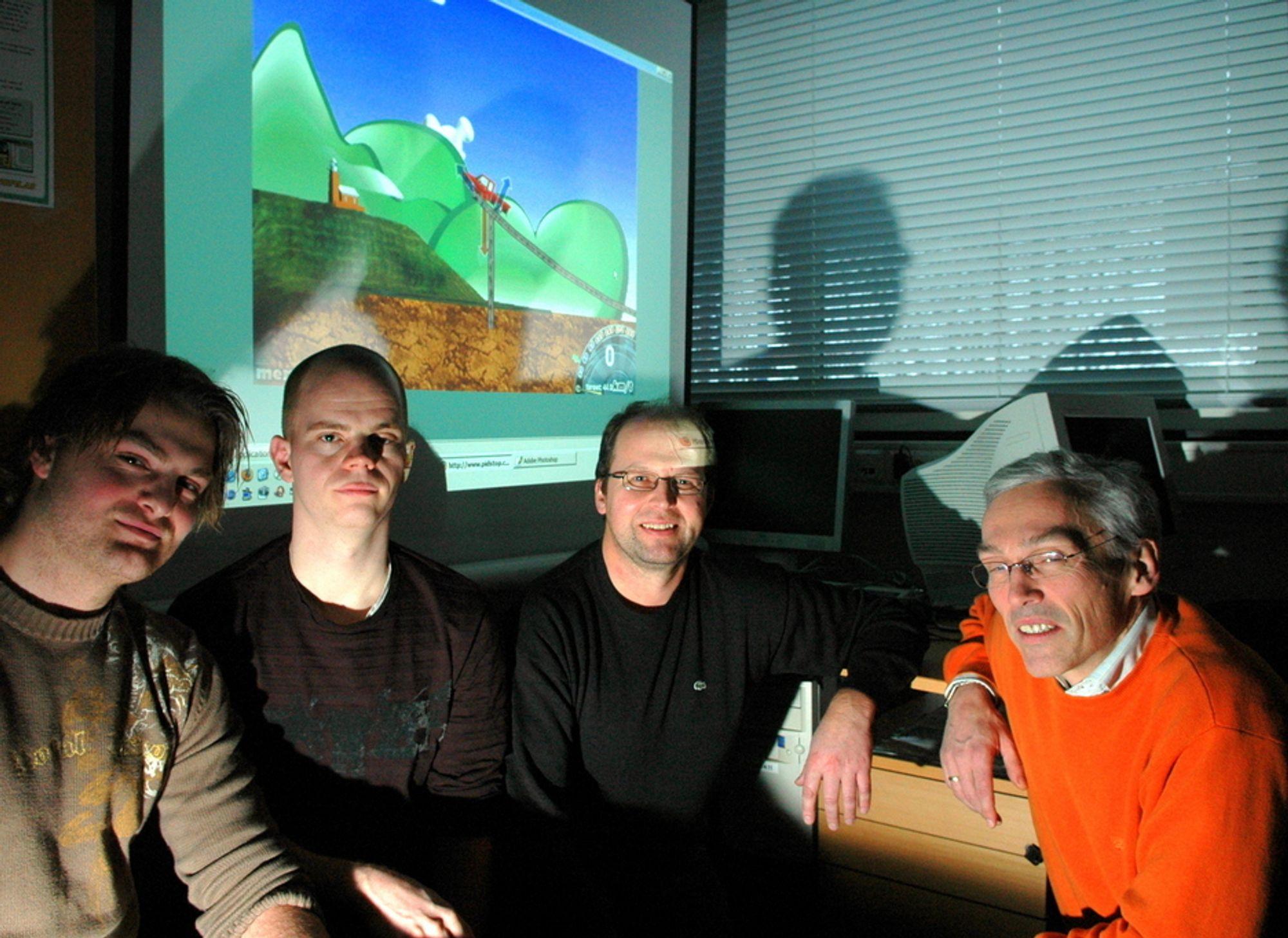 SKAL INSPIRERE: Denne gjengen står bak PIDstop opplæringssimulator. Fra venstre Øivind Loe, Frank Jakobsen, Tor Ivar Eikaas og Bjarne Foss.