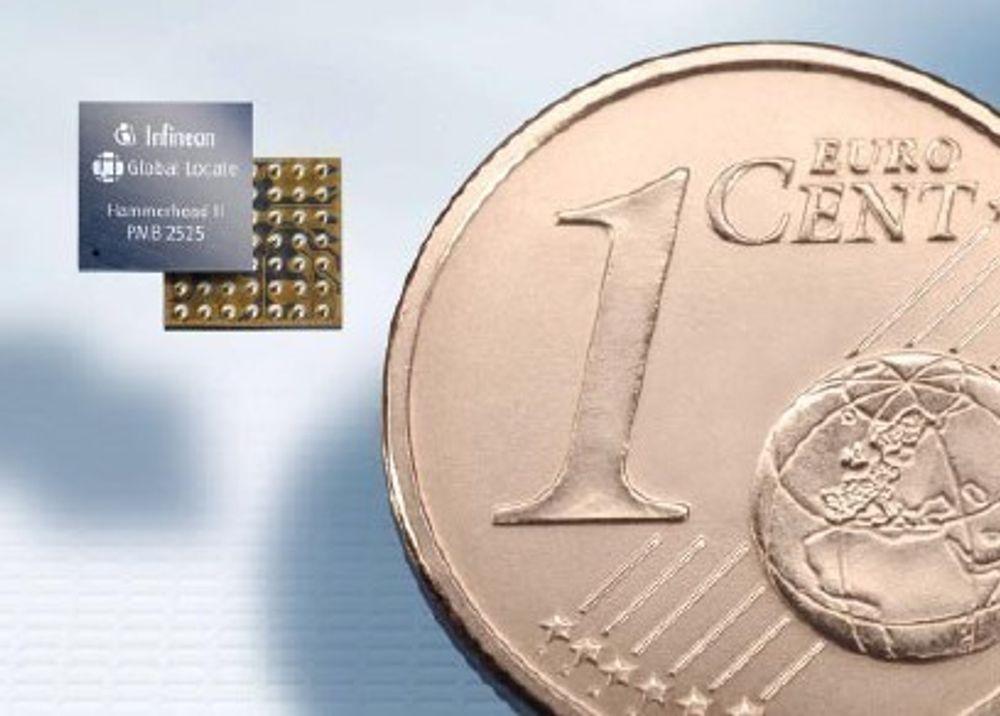 IKKE STORE KAR'N: Infineons Hammerhead II GPS-chip måler bare 3,79 x 3,59 mm.