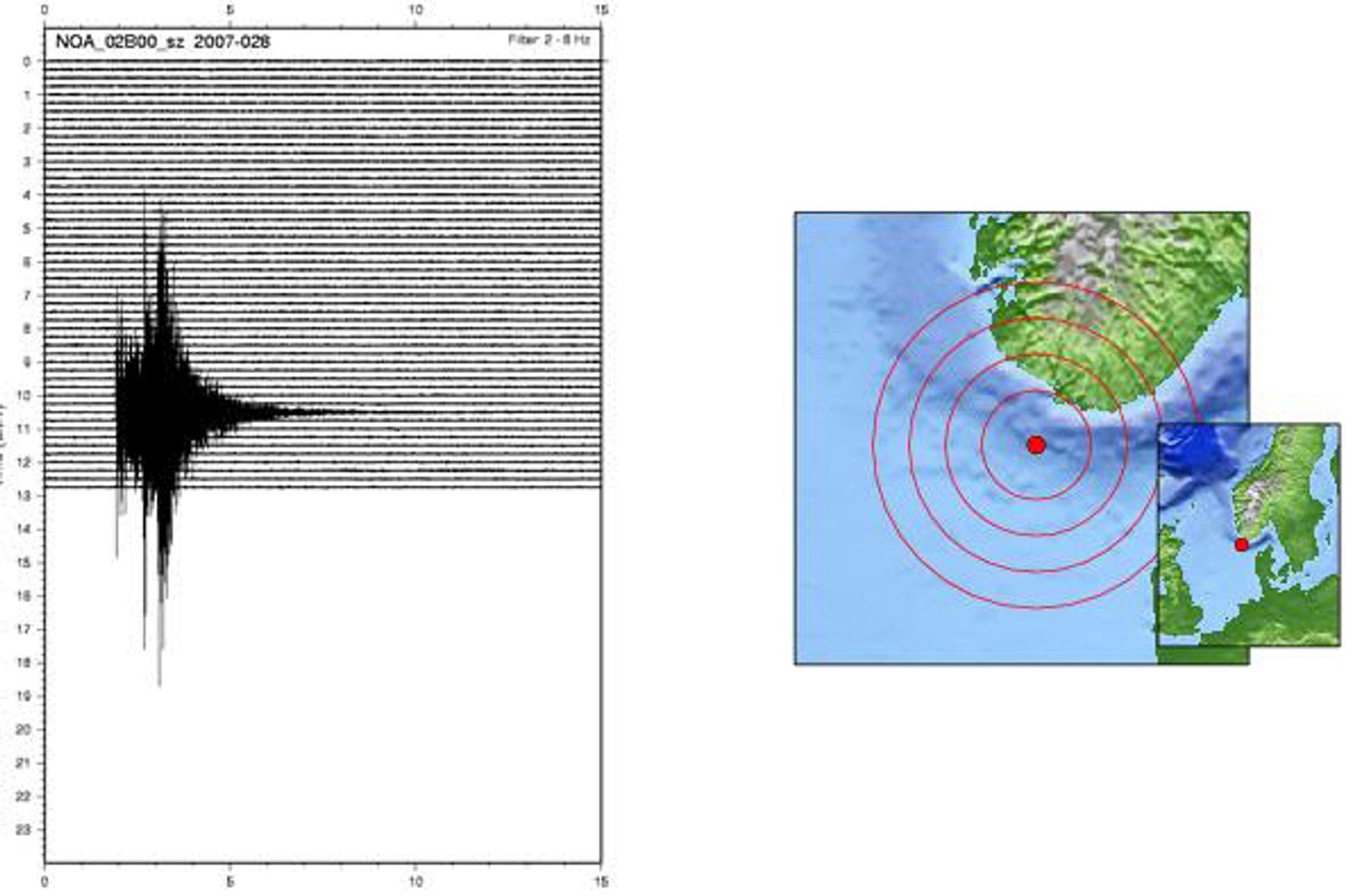 REGISTRERT: De seismiske signalene ble registrert av NORSAR. Episenteret var 57,7°N og 6,3°E.